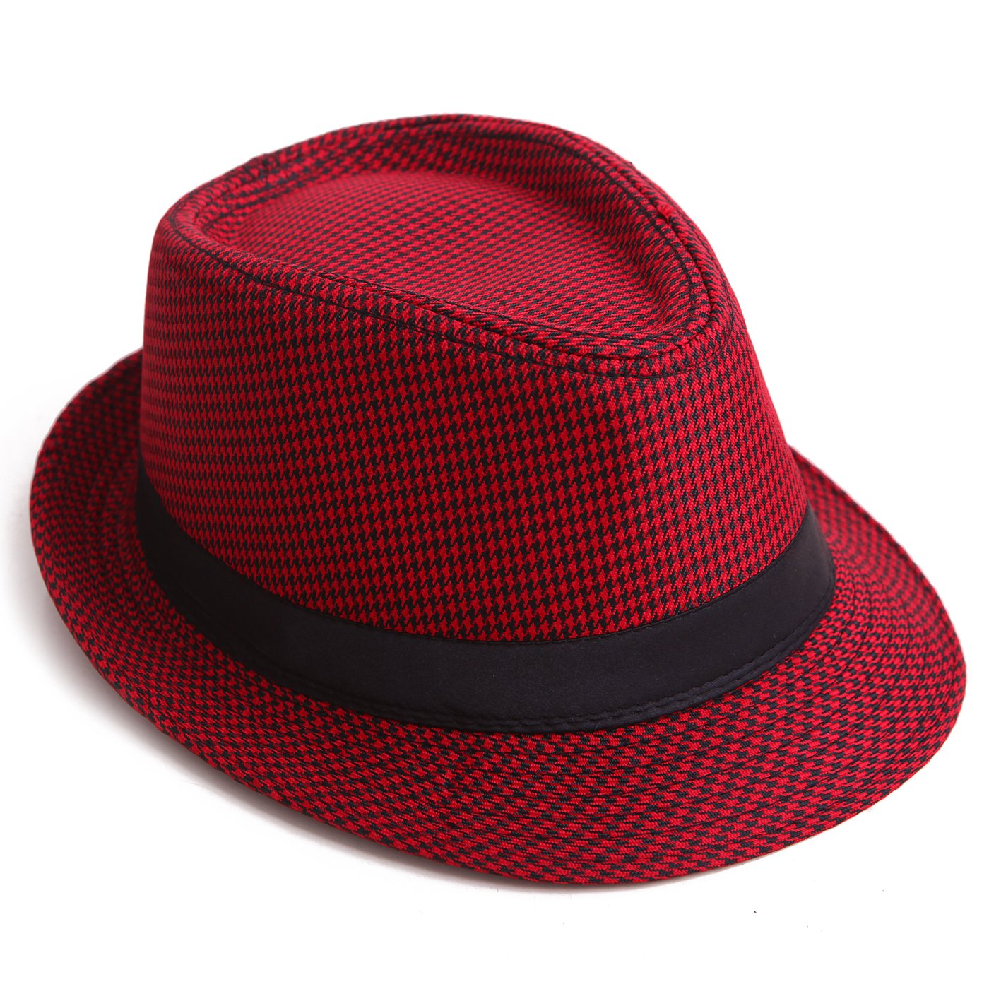HDE Pinstripe Houndstooth Stingy Short Brim Fedora Gangster Cuban Style Hat Cap