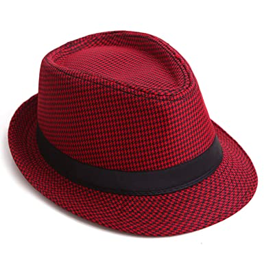 HDE Short Brim Houndstooth Check Trilby Fedora Hat (Red)  Amazon.co.uk   Clothing f6981a3ade93