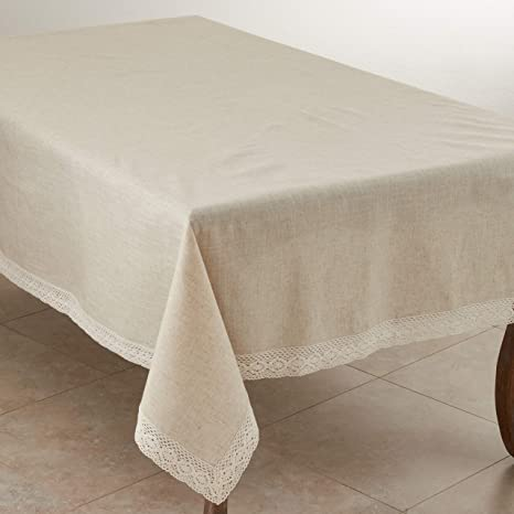 Amazon Com Saro Lifestyle 931 Tablecloth Natural 70 X 104 Oblong Sold Per 1 Pc Home Kitchen