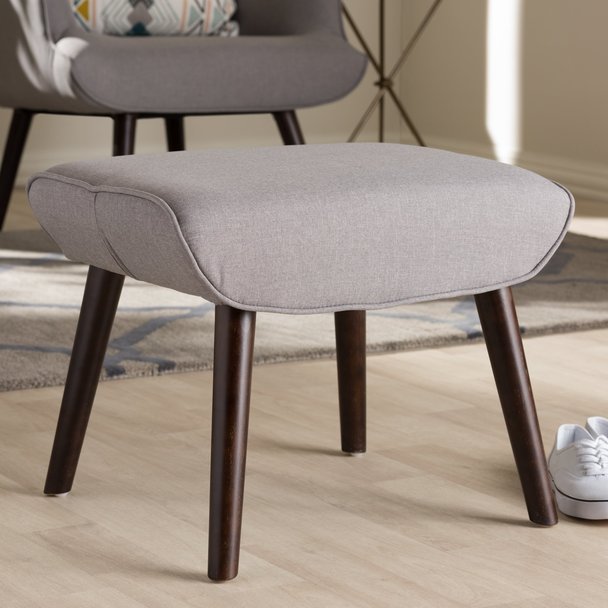 Baxton Studio Alden Mid-Century Modern Light Grey Fabric Upholstered Dark Brown Finished Wood Ottoman/Dark Wood/Mid-Century/Grey/Fabric Polyester 100''/Rubber Wood/Foam