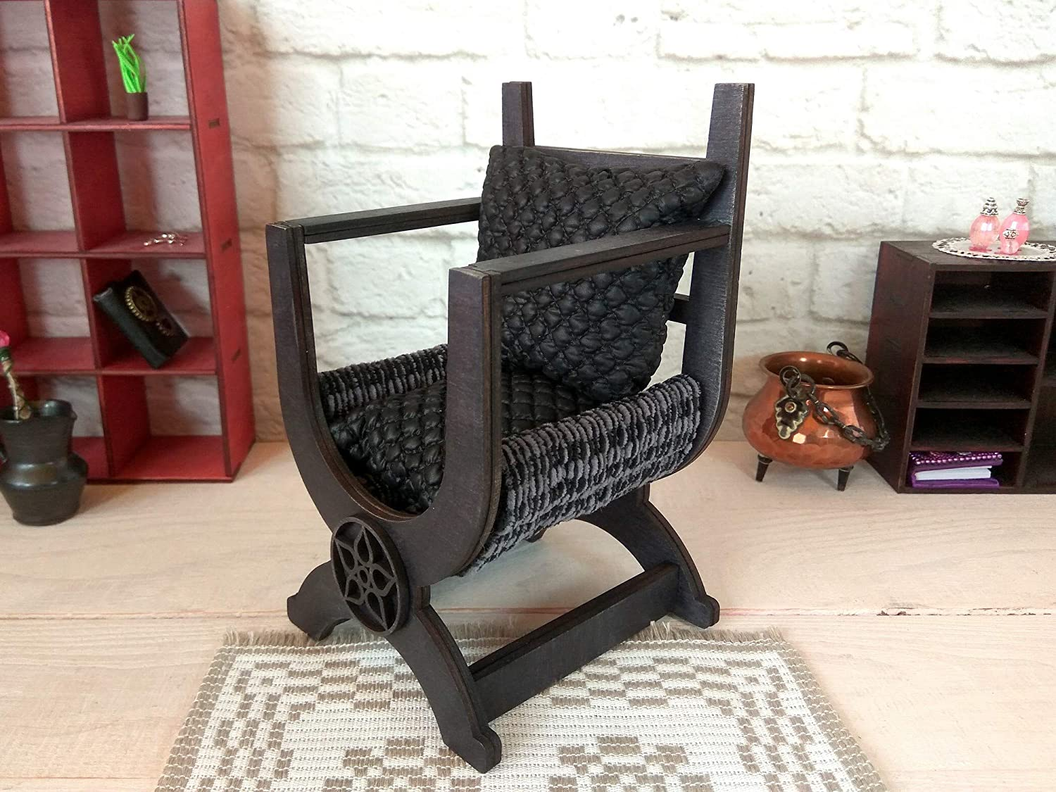 X Framed Queen Mary Armchair Replica Handmade Furniture Miniature Tudor Chair
