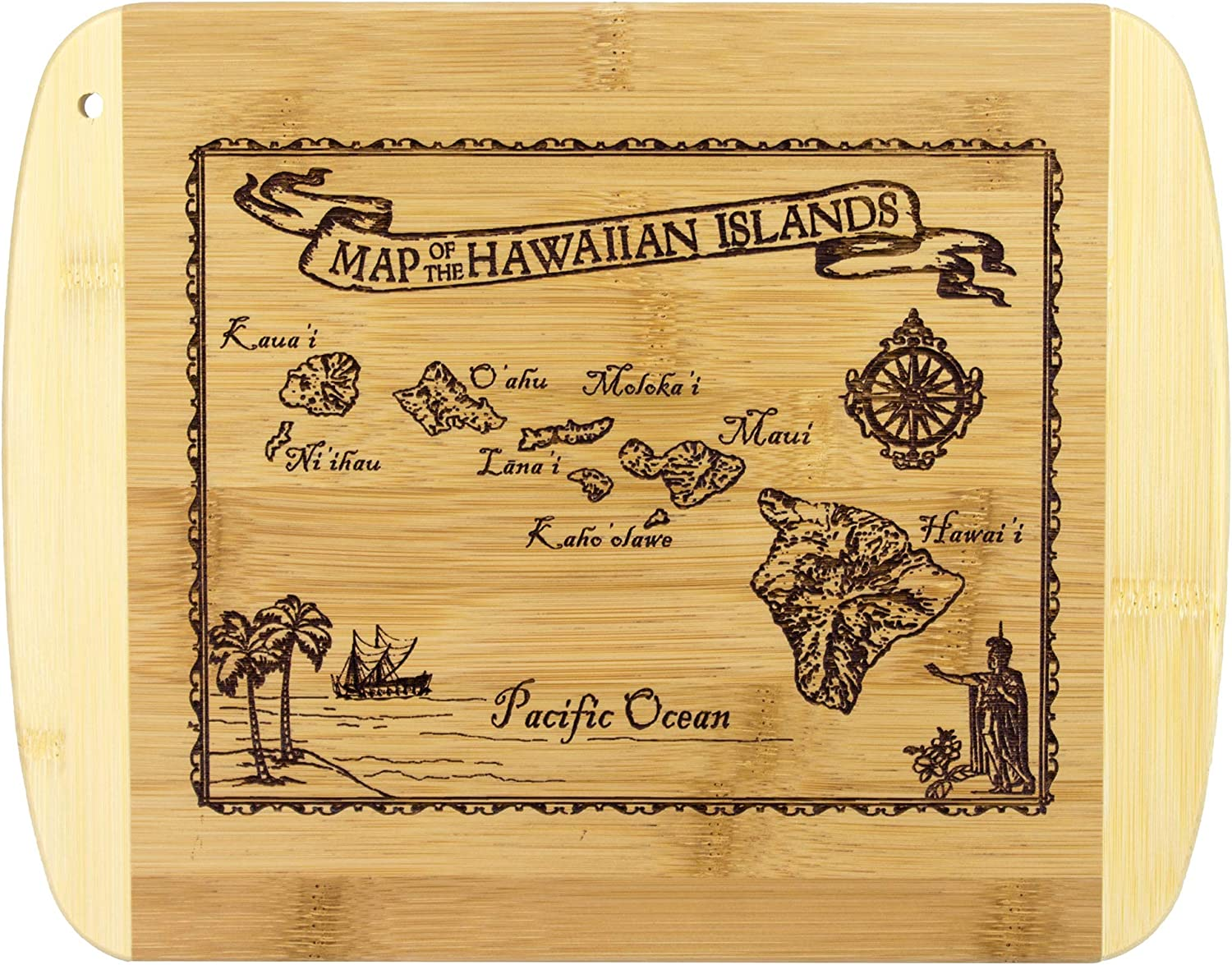 Totally Bamboo Vintage Hawaiian Islands Nautical Map Engraved Bamboo Serving and Cutting Board