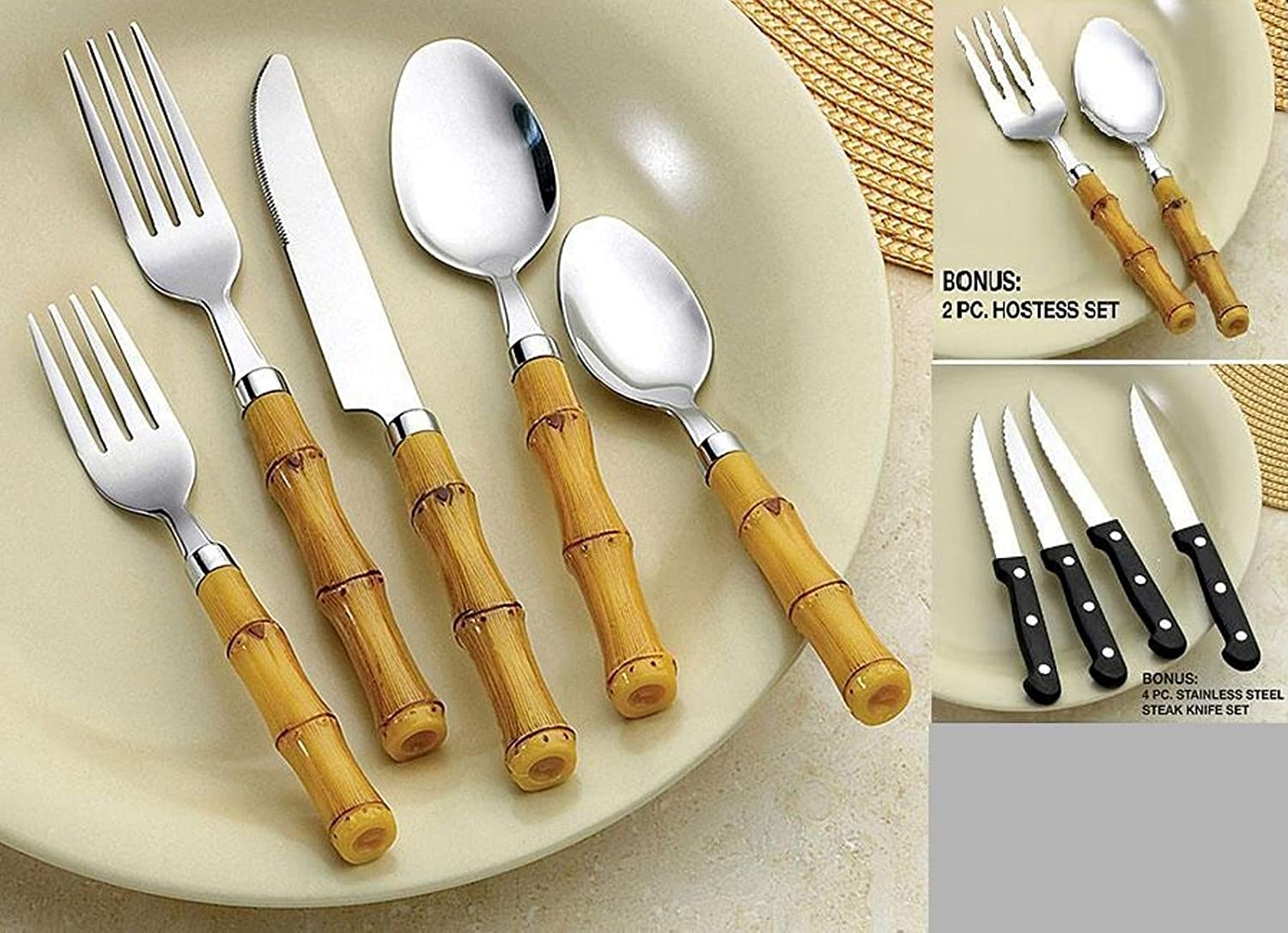 Bamboo Style Flatware Set of 52 Pieces Service for 8
