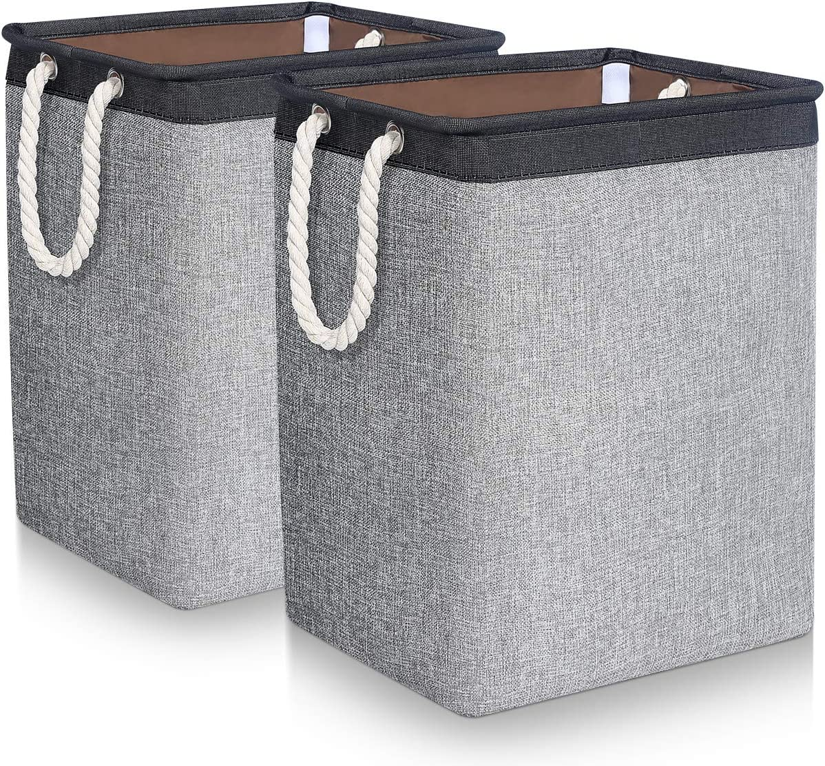 TomCare Laundry Baskets 2 Pack Foldable Clothes Baskets Portable Clothes Hamper Built-in Lining with Handles Detachable Brackets Laundry Storage Household Organizer for Home Office Organizer, Grey