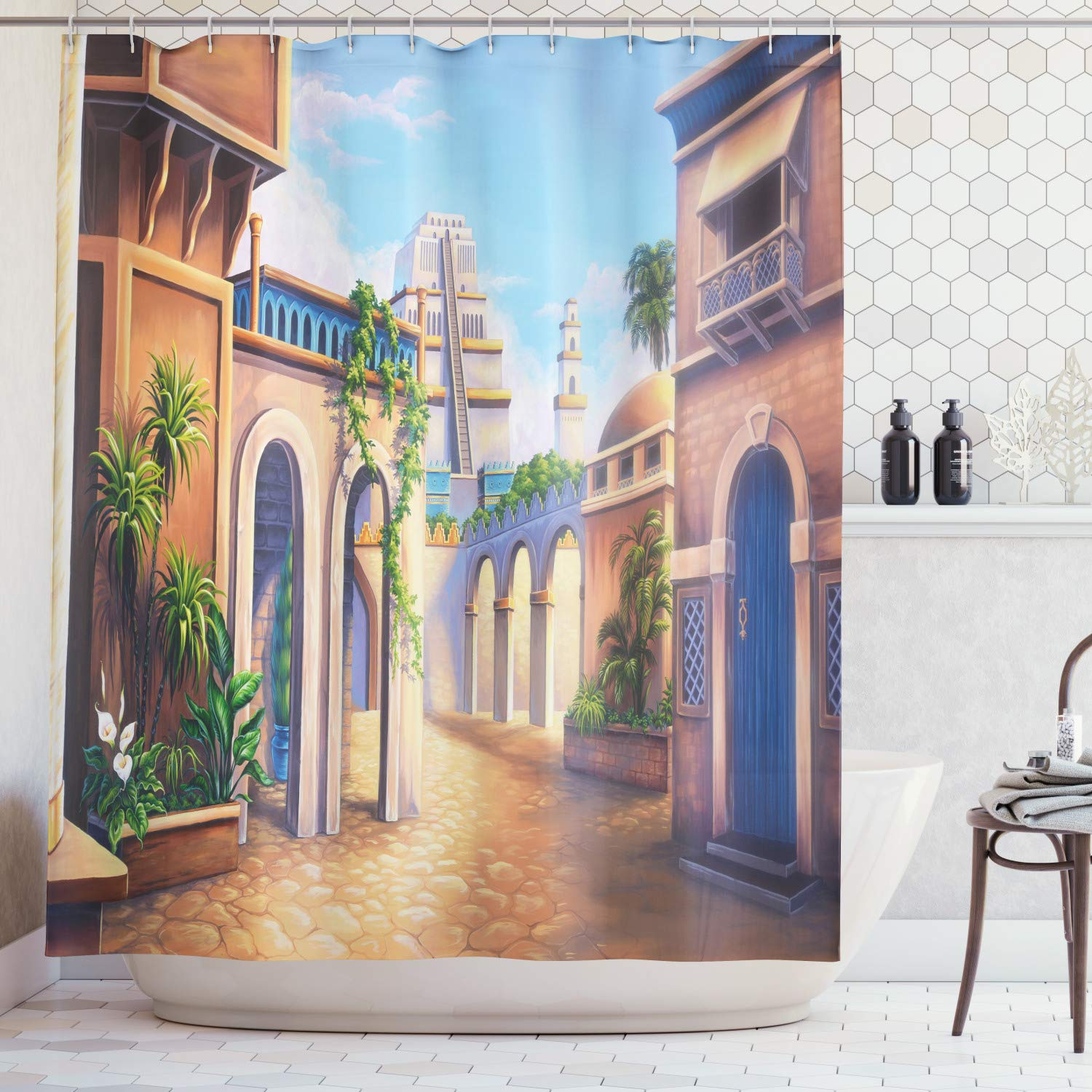 Lunarable City Shower Curtain, Ancient Babylon City Gardens Architecture Seven Wonders of The World, Fabric Bathroom Decor Set with Hooks, 105 inches Extra Wide, Pale Caramel Green Blue