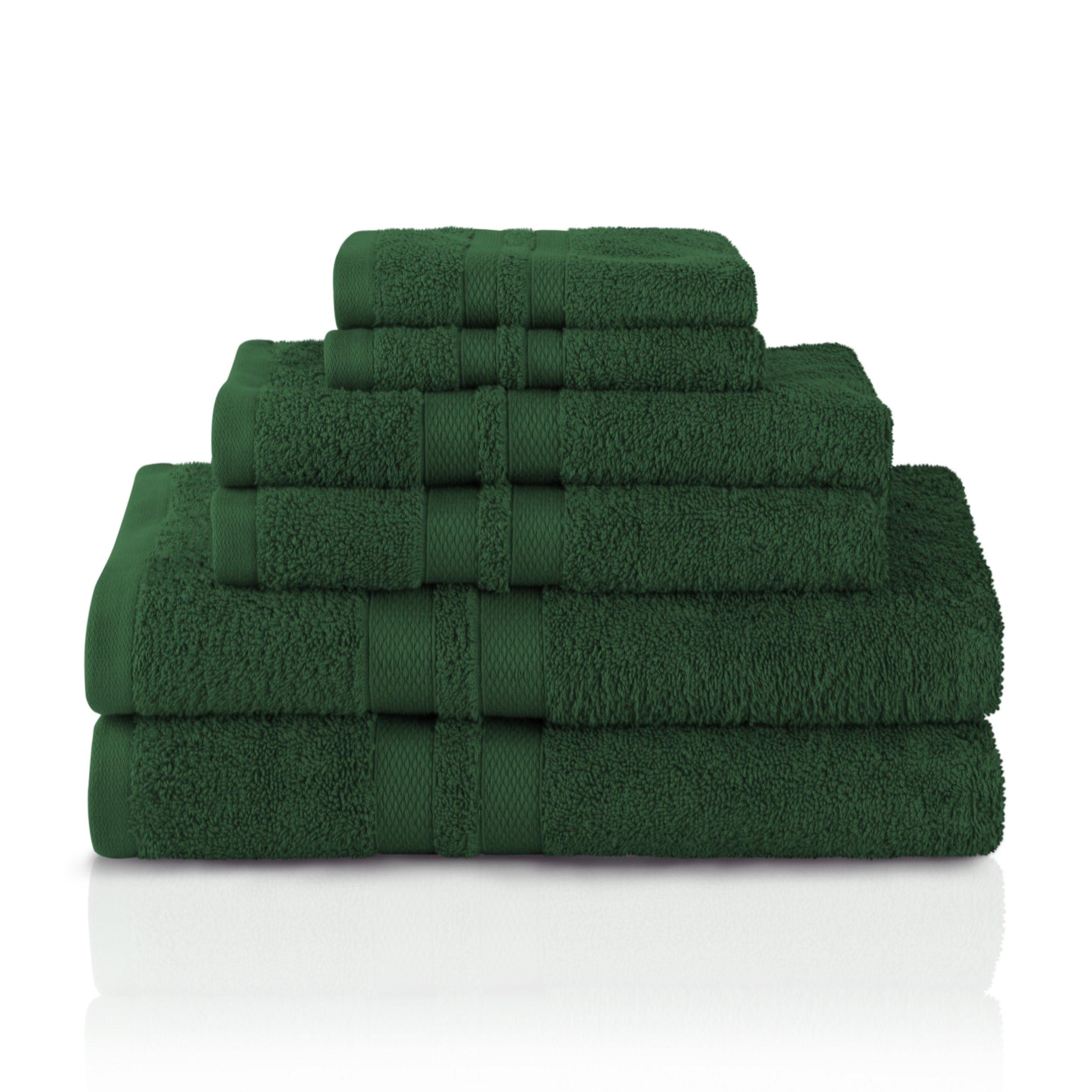Superior 100% Premium Cotton Ultra Soft 6 Piece Towel Set, 2 Bath Towels, 2 Hand Towels, and 2 Washcloths with Unique Honeycomb Double Border, Forest Green