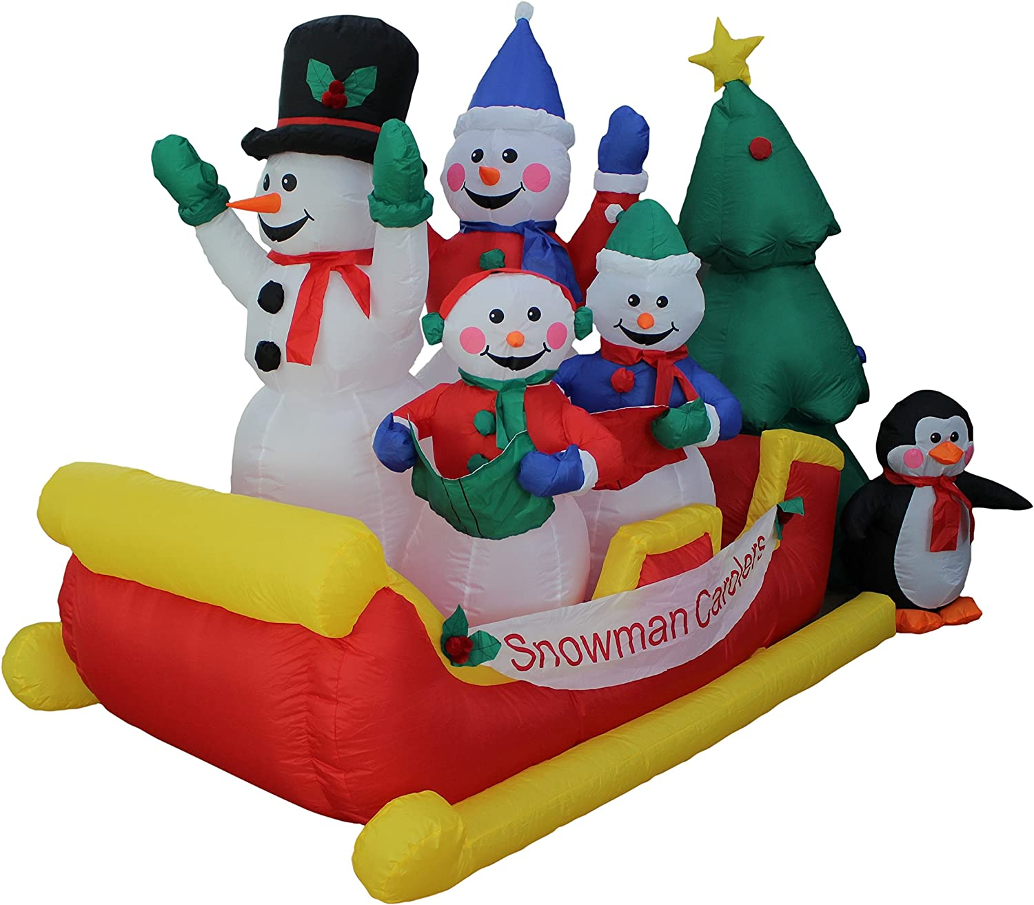 8 Foot Long Inflatable Snowman Family Penguin Christmas Tree on Sleigh Yard Decoration Lights Decor Outdoor Indoor Holiday Decorations, Blow up Lighted Yard Decor, Lawn Inflatables Home Family Outside