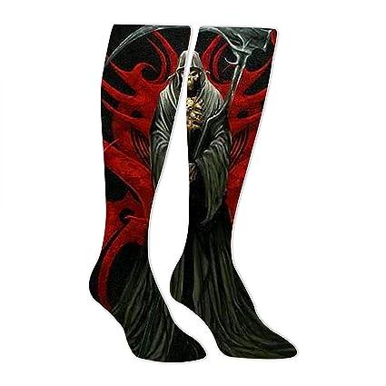 Calcetines largos para vestido, diseño de calaveras de fantasía, cómodos sobre el tubo de
