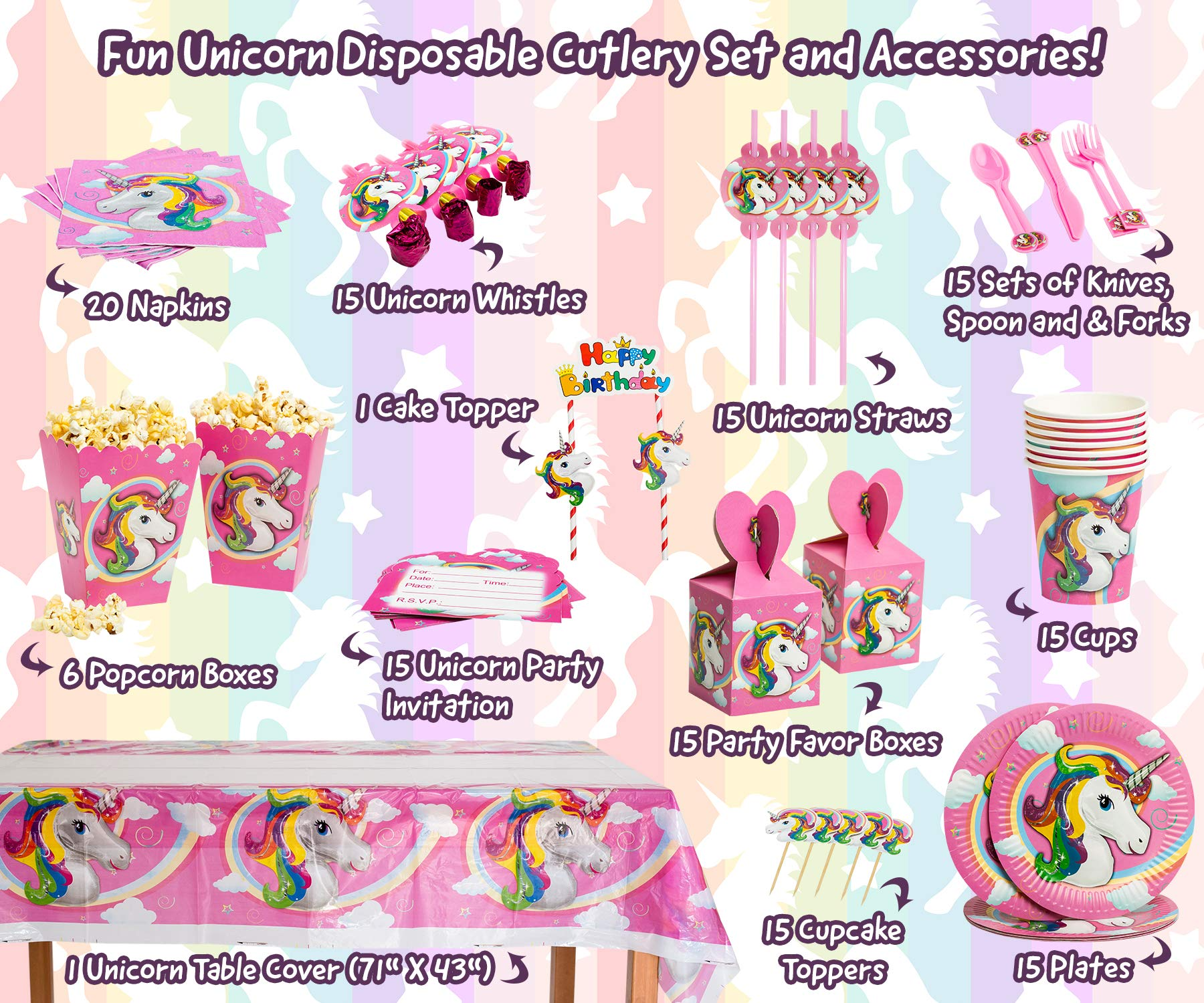Imagine's Complete Unicorn Party Supplies – 220+ Piece Rainbow Girls Birthday Supplies Pack with Unicorn Balloons… 7