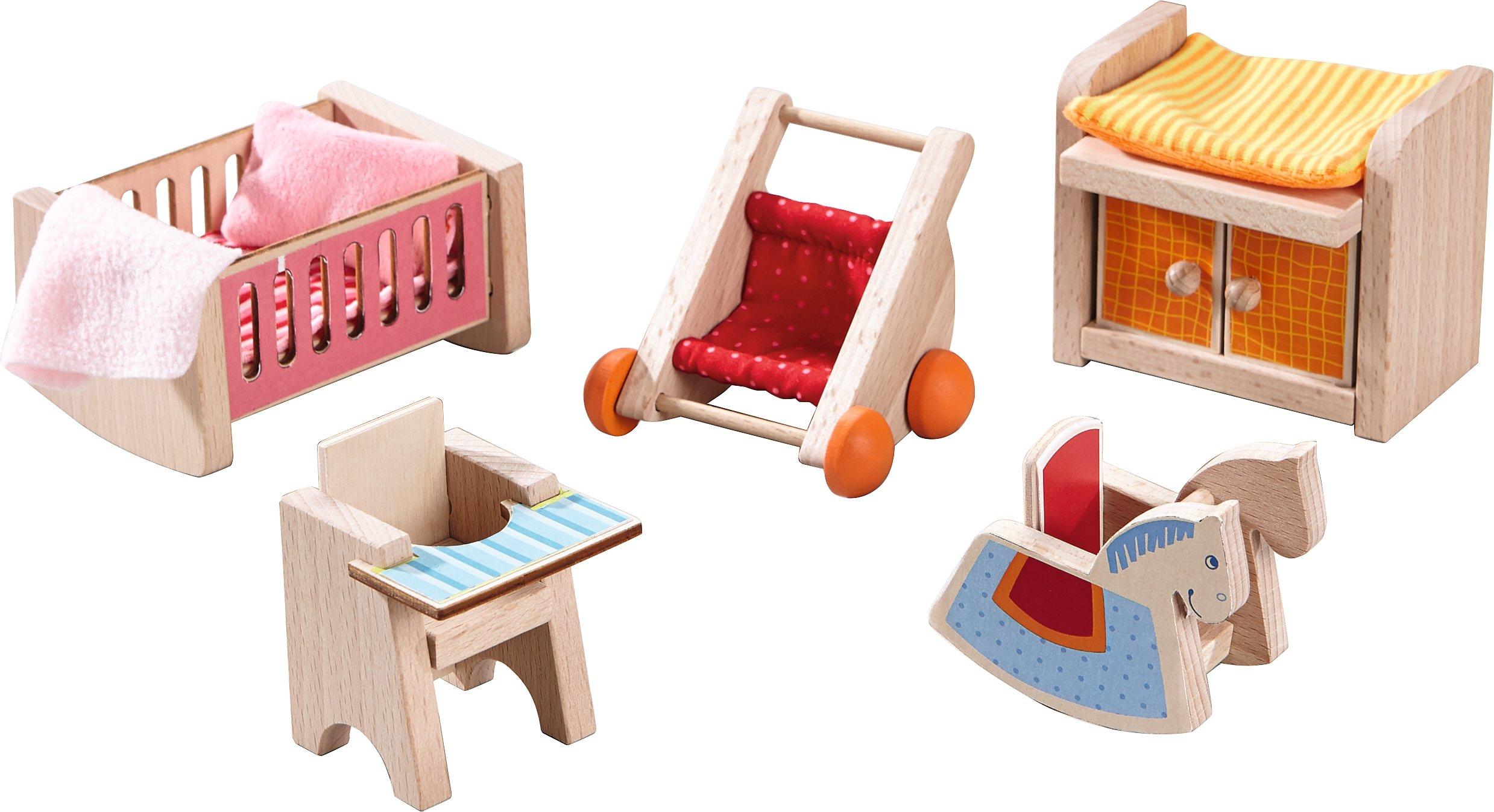 HABA Little Friends Children's Nursery Room - Dollhouse Furniture for 4'' Bendy Dolls