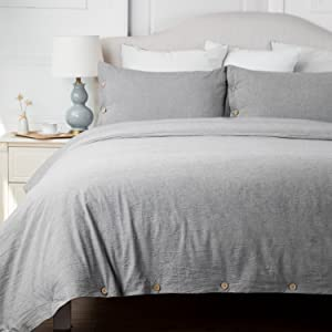 Bedsure 100% Washed Cotton Duvet Cover King Size, Grey Comforter Cover Bedding Set 3 Pieces (1 Duvet Cover + 2 Pillow Shams)