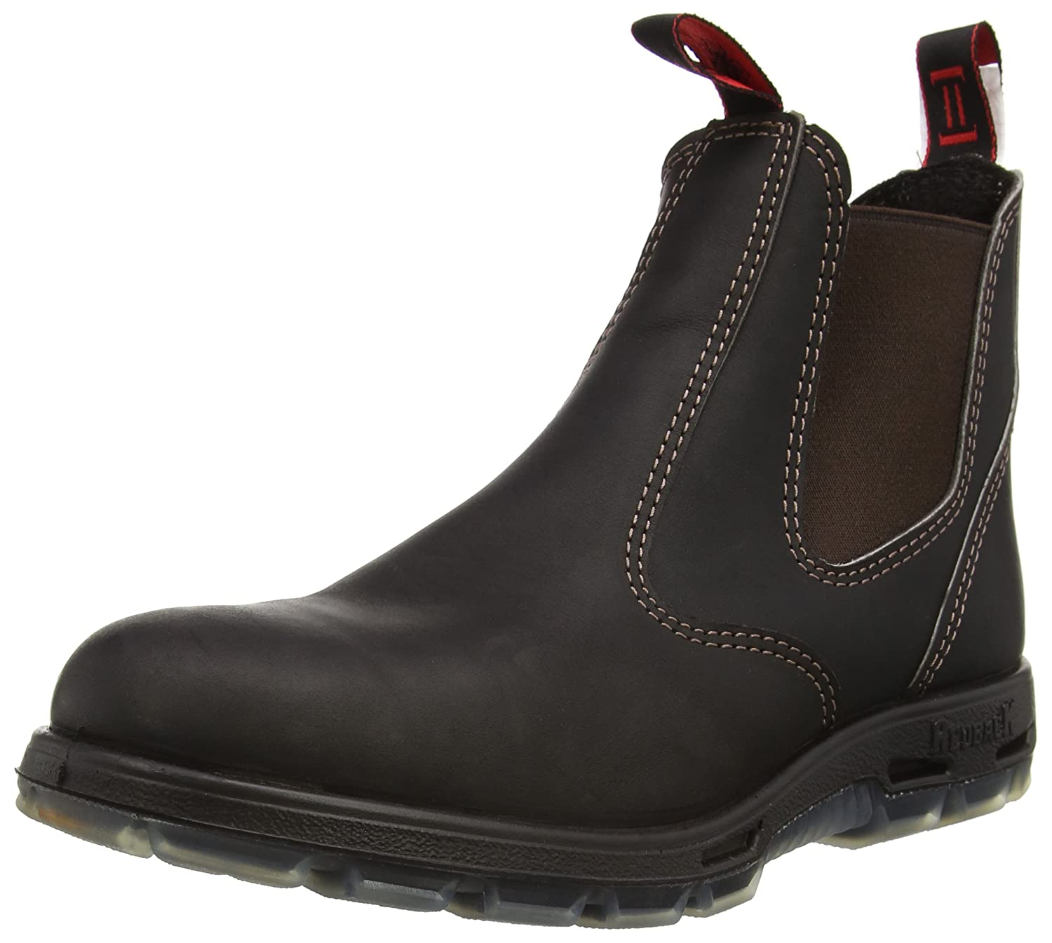 Redback Men 's Bobcat uBOKダークブラウンElastic Sided Soft Toe Leather Work Boot B003MWZRL0 3 AU 3E (4 M US Men)