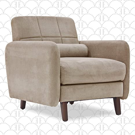 Elle Decor Natalie 26 Mid Century Modern Tufted Armchair Upholstered Microfiber Accent Chair Padded Backrest Beige Furniture Decor