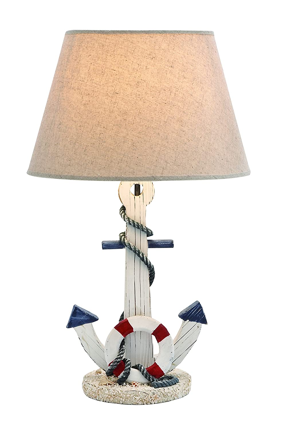 Amazon.com: Benzara Wooden Anchor Table Lamp with an On/Off Switch ...