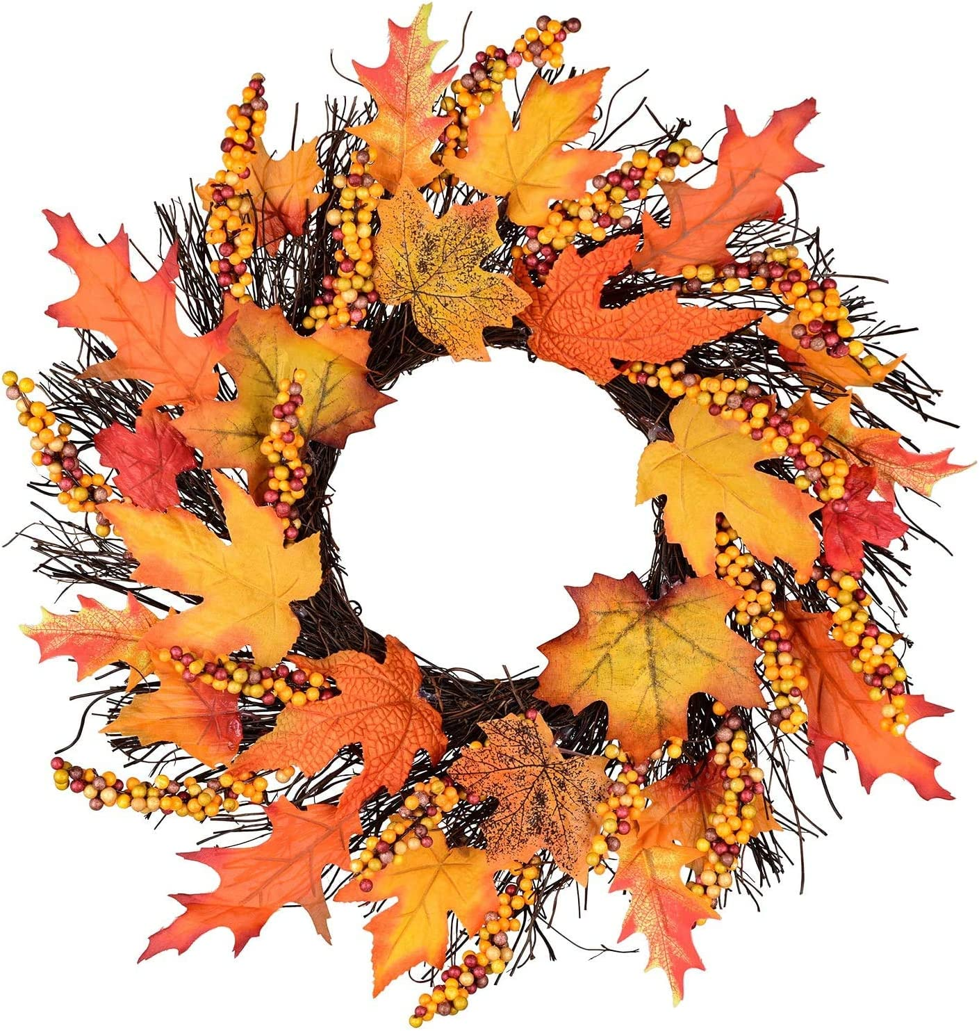 Silk Fall Front Door Wreath -17 Inches Large Fall Wreath, Maple Leafs, Berries and Pumpkin Harvest Artificial Wreath, Brightens Front Door Decor with Rich Fall Colors