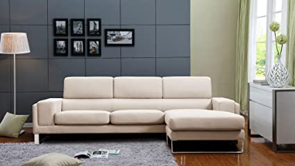 Genial Container Furniture Direct Quinn Collection Mid Century Upholstered Linen  Fabric Reversible Sectional Sofa Set,
