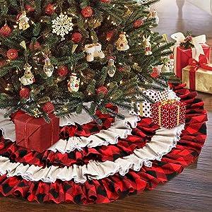 AerWo Buffalo Plaid Christmas Tree Skirt 48 inches, 6 Layers Ruffled Red and Black Buffalo Check Christmas Tree Skirt Burlap Xmas Tree Skirt for Holiday Christmas Decorations