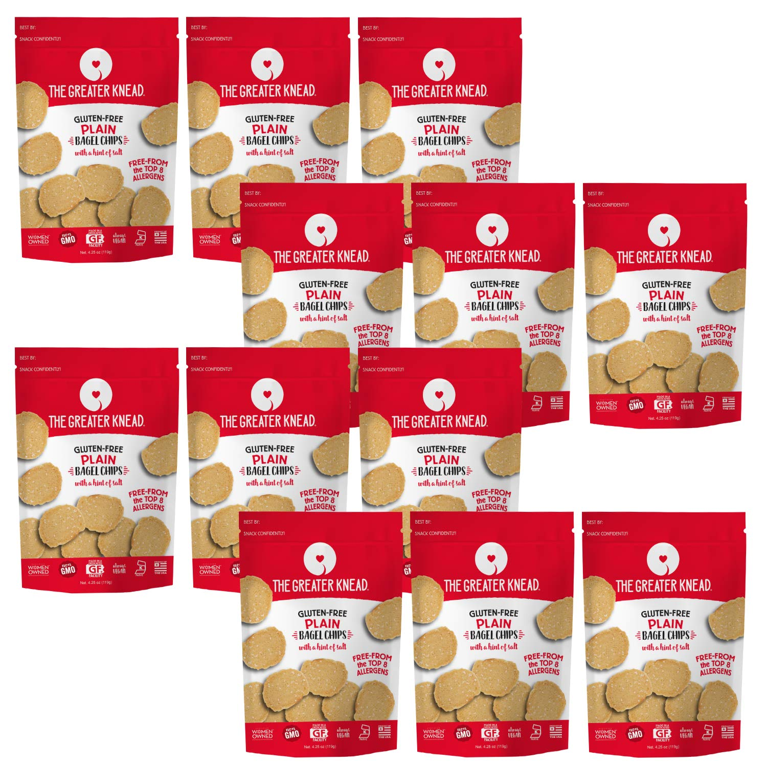 Greater Knead Gluten Free Bagel Chips - Plain, Vegan, non-GMO, Free of Wheat, Nuts, Soy, Peanuts, Tree Nuts (12 packs) by The Greater Knead