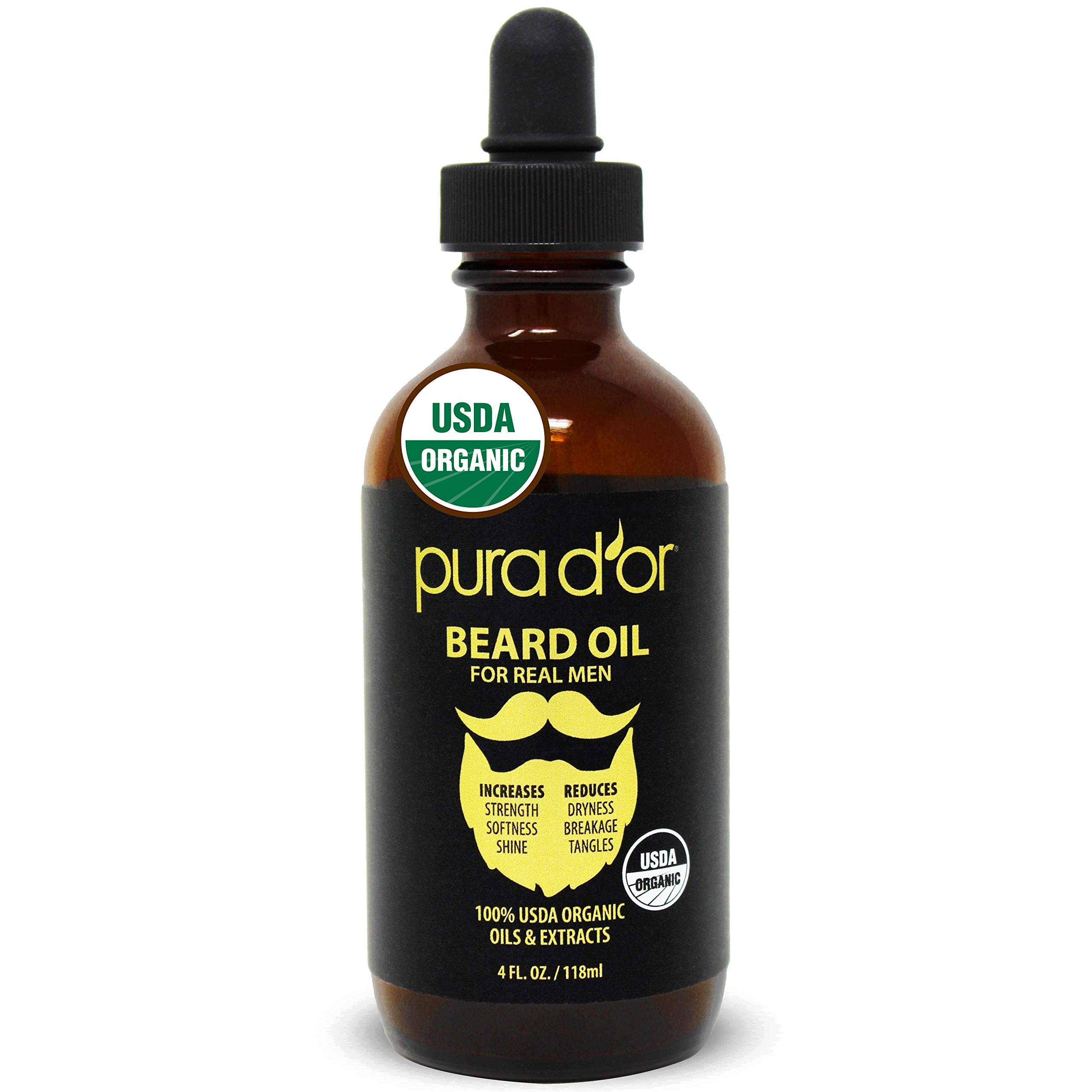 PURA D'OR Beard Oil (4oz / 118mL) USDA Organic 100% Pure Natural Leave-In Conditioner w/Argan & Jojoba Oil - Mustache Care & Maintenance. Helps Increase Softness & Strength FOR MEN (Packaging Varies)