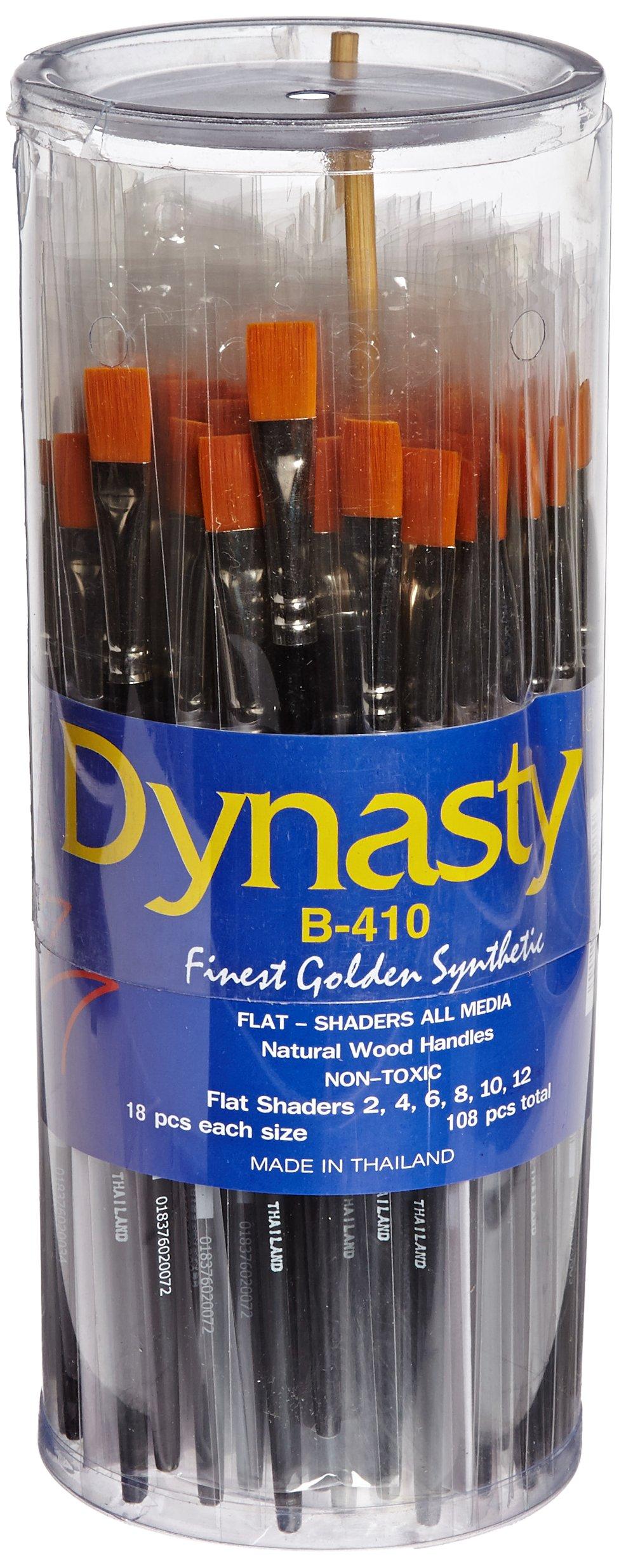 Dynasty B-410 Golden Synthetic Flat Shader Brush - Assorted Sizes - Set of 108 - Black