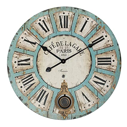 Jeteven 23 Large Decorative Wall Clock With Pendulum Vintage Rustic Quartz Silent