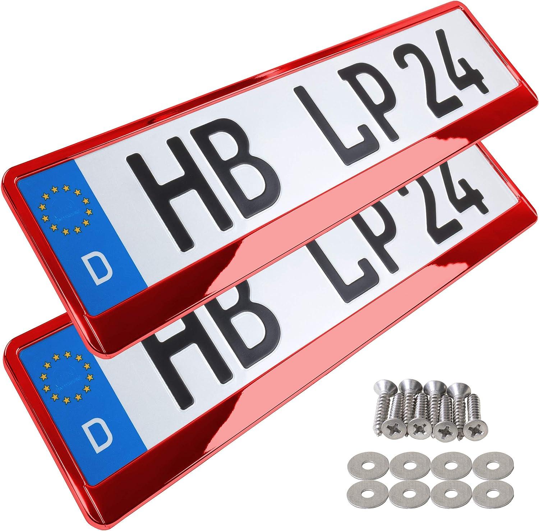 A157 Kennzeichenhalter 2 St/ück Auto Nummernschildhalter rot chrom Kennzeichenverst/ärker Kennzeichenhalterung Nummernschildhalterung Verst/ärker Halter f/ür Kennzeichen Nummernschild edel gl/änzend