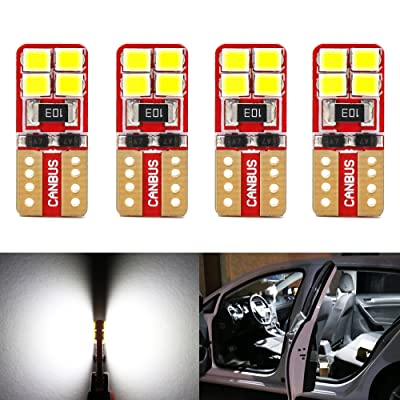 Phinlion Super Bright 2835 8-SMD Wedge T10 168 194 2825 LED Bulbs for Car Interior Dome Map Door Courtesy License Plate Lights 6000K Xenon White (Pack of 4): Automotive
