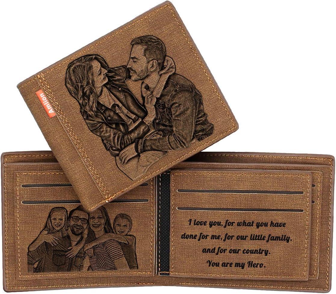 Cartera Billetera Hombre Personalizada con Foto,RFID Blocker Card,Regalos Personalizados,Grabado Libre