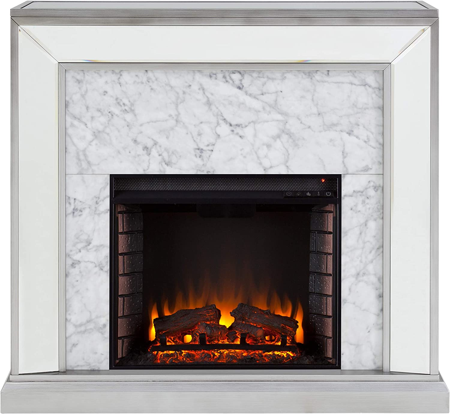 SEI Furniture Trandling Mirrored & Faux Electric Fireplace, Antique Silver/White Marble