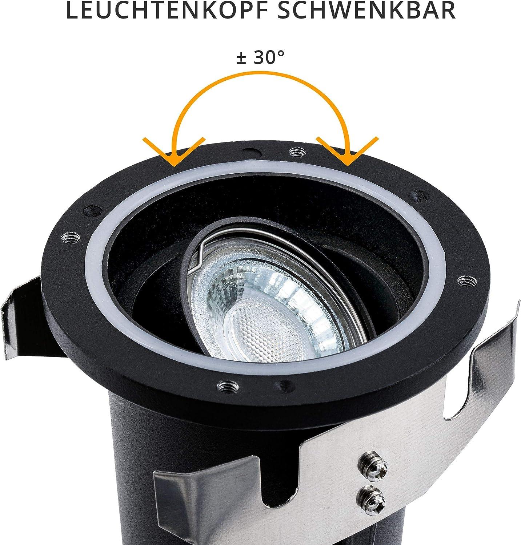 mit LED GU10 3,5W warmwei/ß 230V SSC-LUXon JUAVI Bodeneinbaustrahler aussen schwenkbar GU10 IP67 Bodenspot befahrbar rund