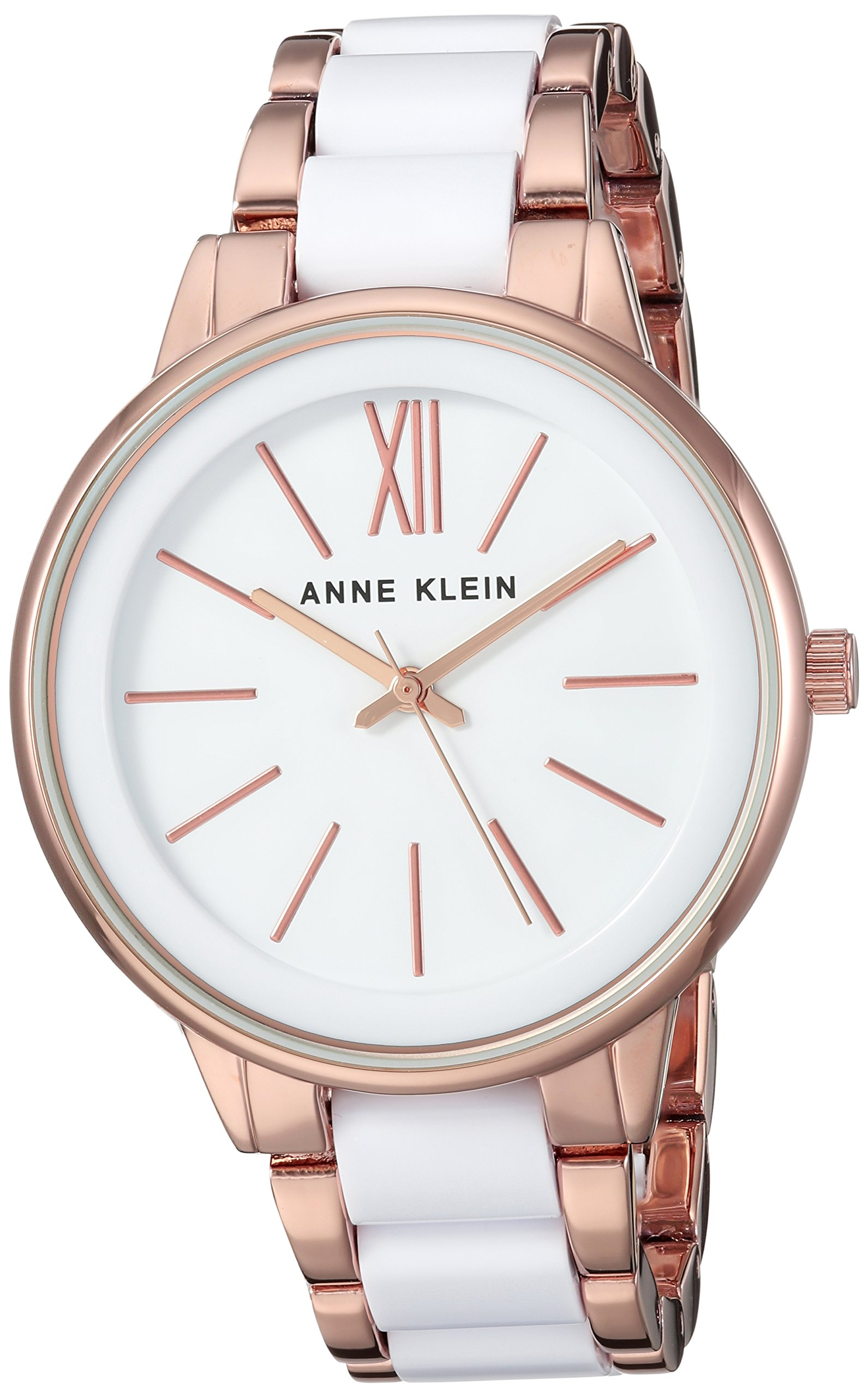 Anne Klein Women's Rose Gold-Tone and White Bracelet Watch