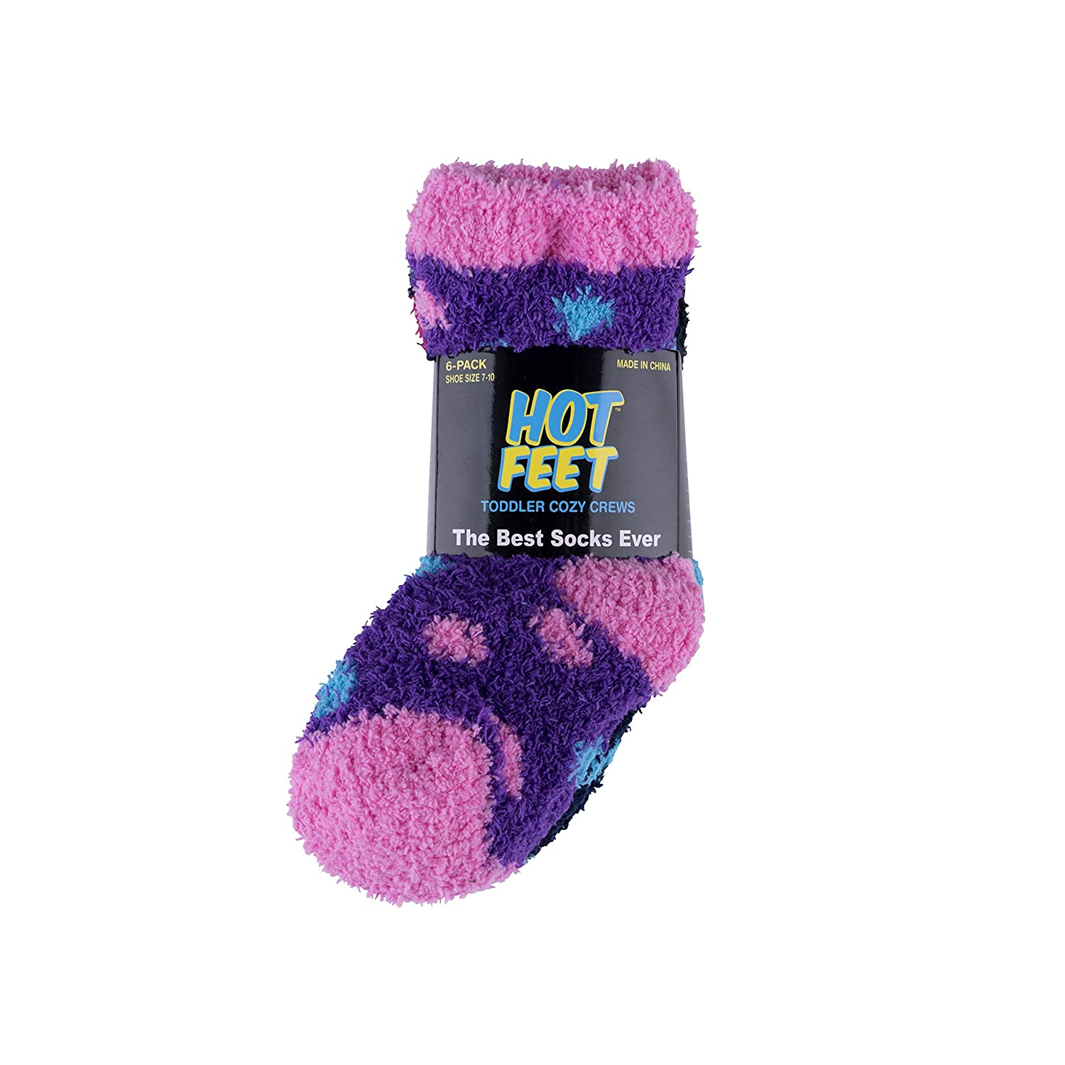 Hot Feet Solid Patterned Cozy Crew 6 pk Socks for Toddler Boys and Girls Sizes 4 /– 5.5
