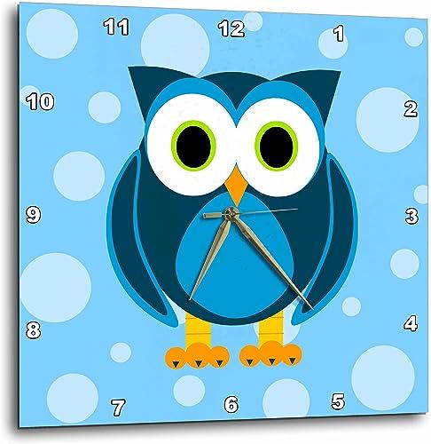 3dRose DPP_6312_3 Cute Blue Owl on Light Blue Background Wall Clock, 15 by 15-Inch