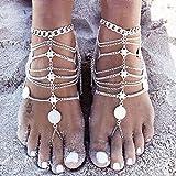 1 paio Boho Vintage gioielli Benedizione Symbol nappa dei calzini del piede