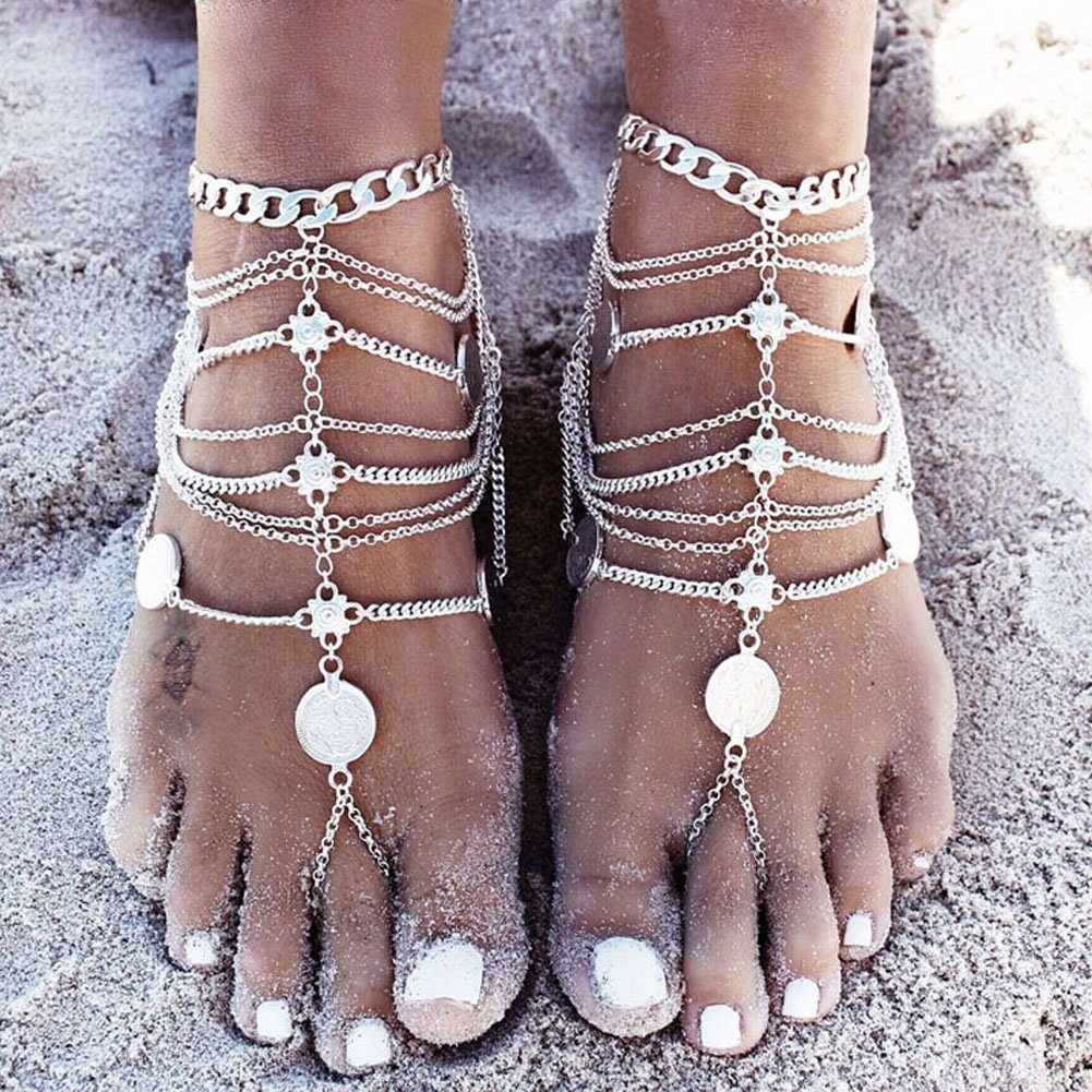 EQLEF® Anklets Boho Vintage Golden Coin Blessing Symbol Tassel Foot Chains -1 Pair (Golden)
