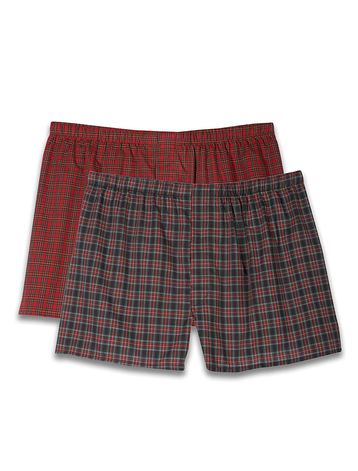 Harbor Bay by DXL Big and Tall Red Plaid Boxers