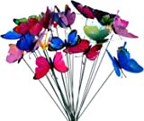 24 Pieces Colorful Garden Butterflies Dragonflies Patio Ornaments on Sticks for Plant Decoration, Outdoor Yard, Garden Decor