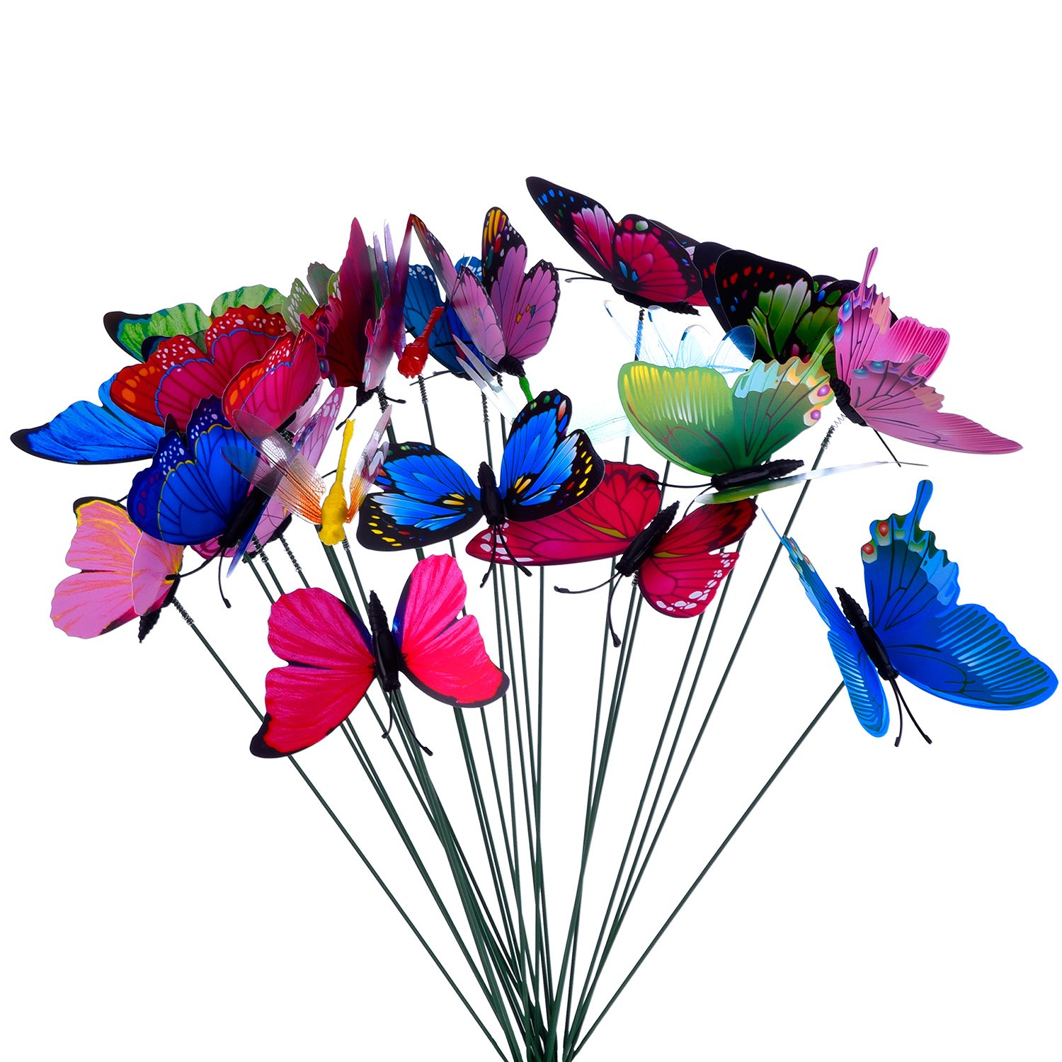 24 Pieces Colorful Garden Butterflies Dragonflies Patio Ornaments on Sticks for Plant Decoration, Outdoor Yard, Garden Decor Outus