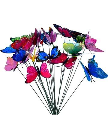 24 Piezas Mariposas Libélulas Coloridas de Jardín Adornos de Patio en Palos para Decoración de Planta