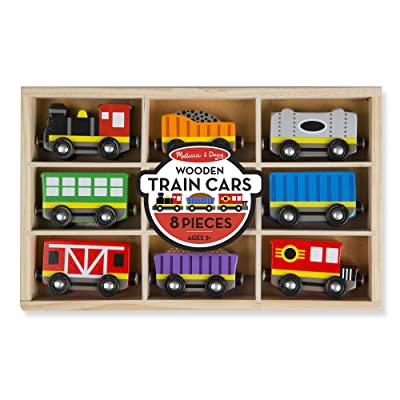 Melissa & Doug Wooden Train Cars: Toy: Toys & Games
