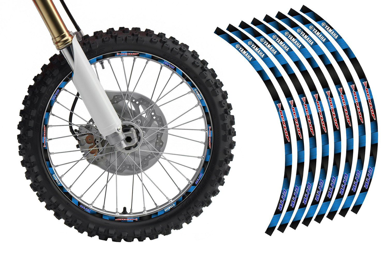 Yamaha Dirt Bike Rim Protector Decal Kit for 19 and 21 Inch Wheels By Allmotorgraphics No2119yb
