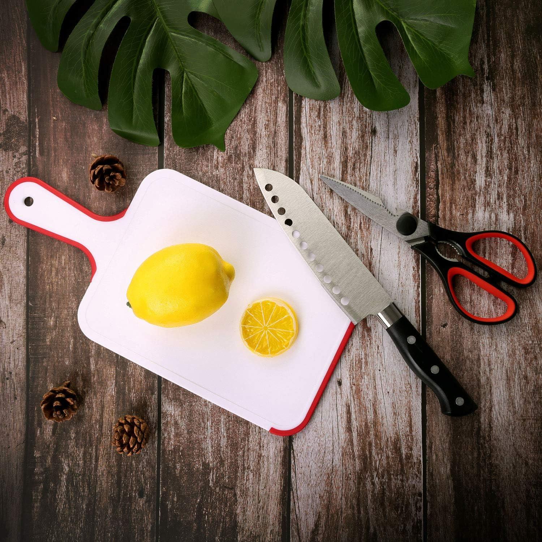 Odoland Ensemble de Couverts r/éutilisables en Acier Inoxydable Ciseaux Planche /à d/écouper et Cuill/ère /à Servir pour Repas ext/érieures et de Pique-Nique Couteau ustensiles de Cuisine avec Pinces