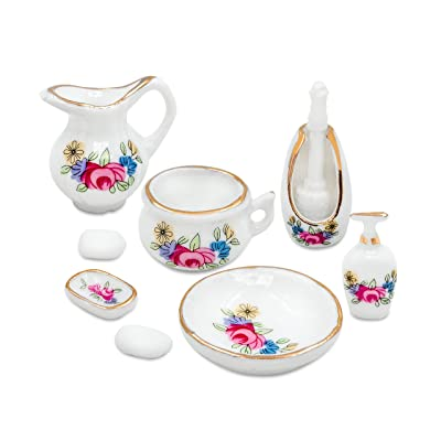 1/12 Scales Dollhouse Miniature Porcelain Bathroom Accessories Set - Water Pot/Tank Brush Stand Lotion Soaps w/ Holder