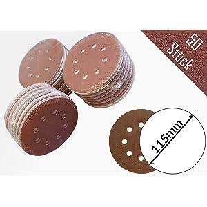 50 pieza profesional – Disco de lija (Diámetro 115 mm grano 240 para lijadoras excéntricas, 8 agujeros)