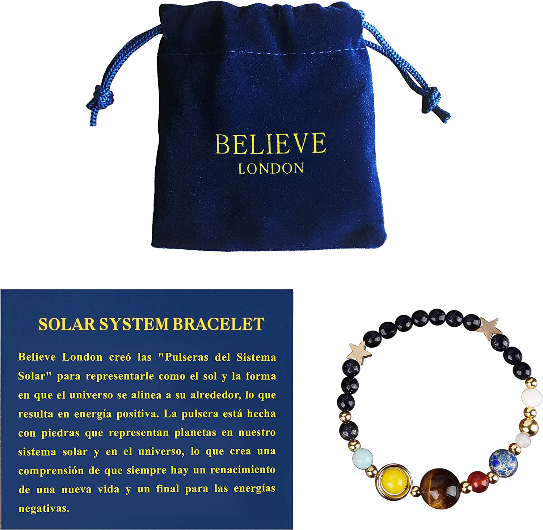 Believe London Pulsera del Sistema Solar con Bolsa de Joyería & Tarjeta de Significado | Pulsera Ajustable para Cualquier Muñeca | 9 Planetas Galaxia Universo