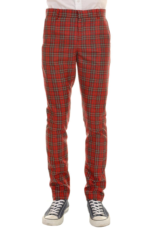 Mens 60s Vintage Retro Mod Red Royal Stewart Tartan Trousers