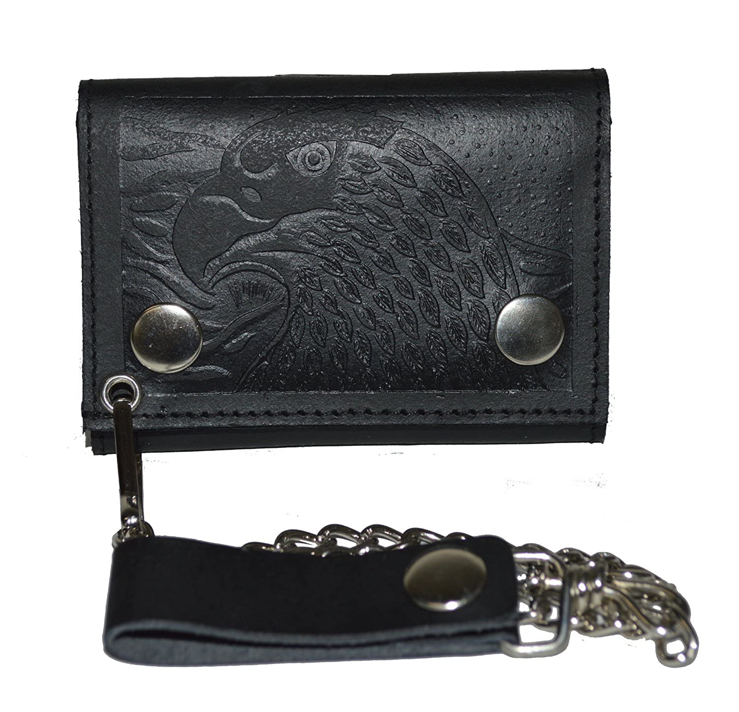 895eb99fc306 BLACK GENUINE LEATHER Trifold Biker's Eagle Wallet ID Card Holder With Chain