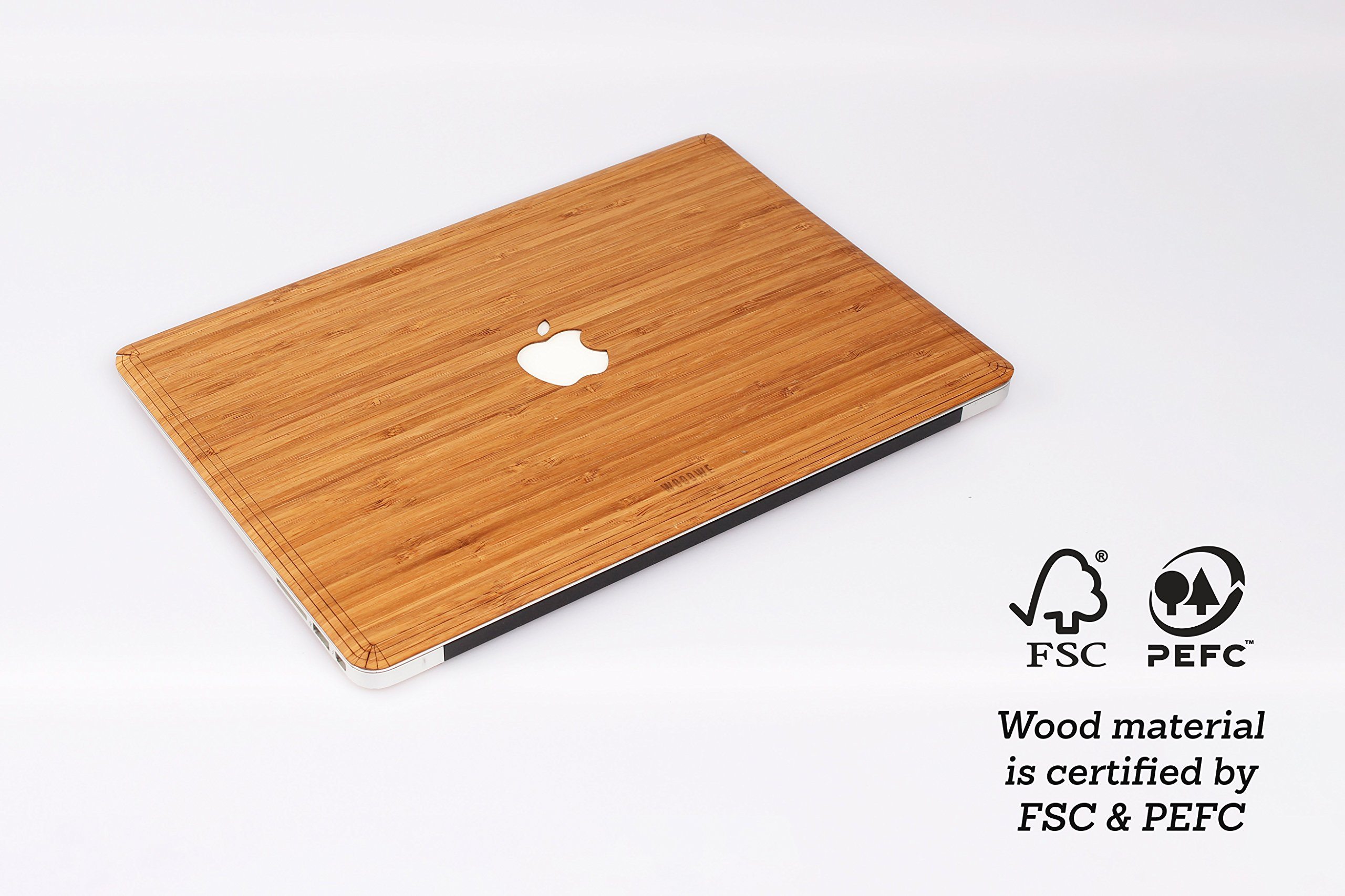 WOODWE Real Wood MacBook Skin for Mac Air 13 inch Non Retina Display   Model: A1237/A1304/A1369/A1466; Early 2008 - Mid 2017   Natural Bamboo   TOP ONLY by WOODWE (Image #2)