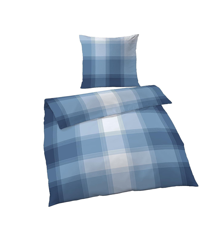 Bettwäsche 155x200 cm kariert blau weiß Übergröße Fein Biber Baumwolle B-Ware