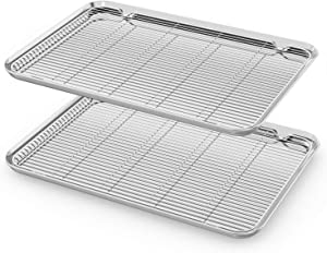 Large Baking Sheet with Rack Set,Cookie Sheet Set of 4 & HKJ Chef Stainless Steel Baking Pan with Cooling Racks, Size 20 x 14 x 1 inch, Non Toxic & Heavy Duty & Easy Clean
